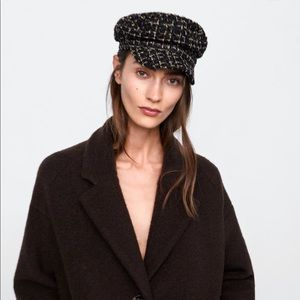 Zara tweed checkered Channel beret hat
